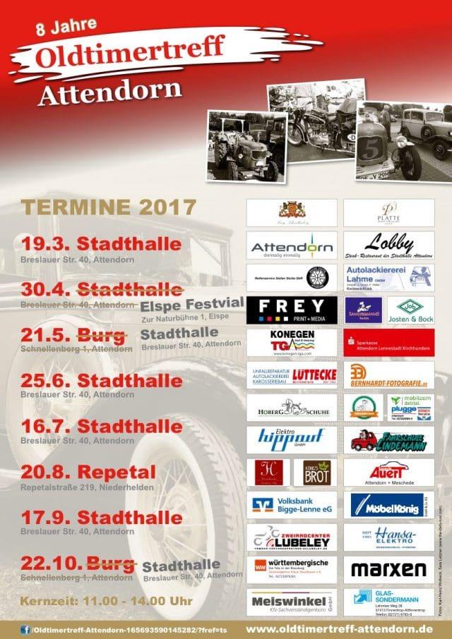 Plakat Termine Oldtimertreff Attendorn 2017