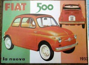 Oldtimer Fiat 500 Blechschild